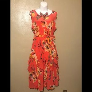 Dress barn dress, peach flowers size 14,polyester